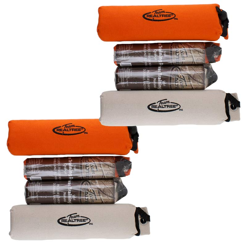 Team RealTree 8 Pack of Canvas Dog Training Dummies - 2 Large Orange, 2 Large Natural, 2 Small Natural, 2 Small Orange