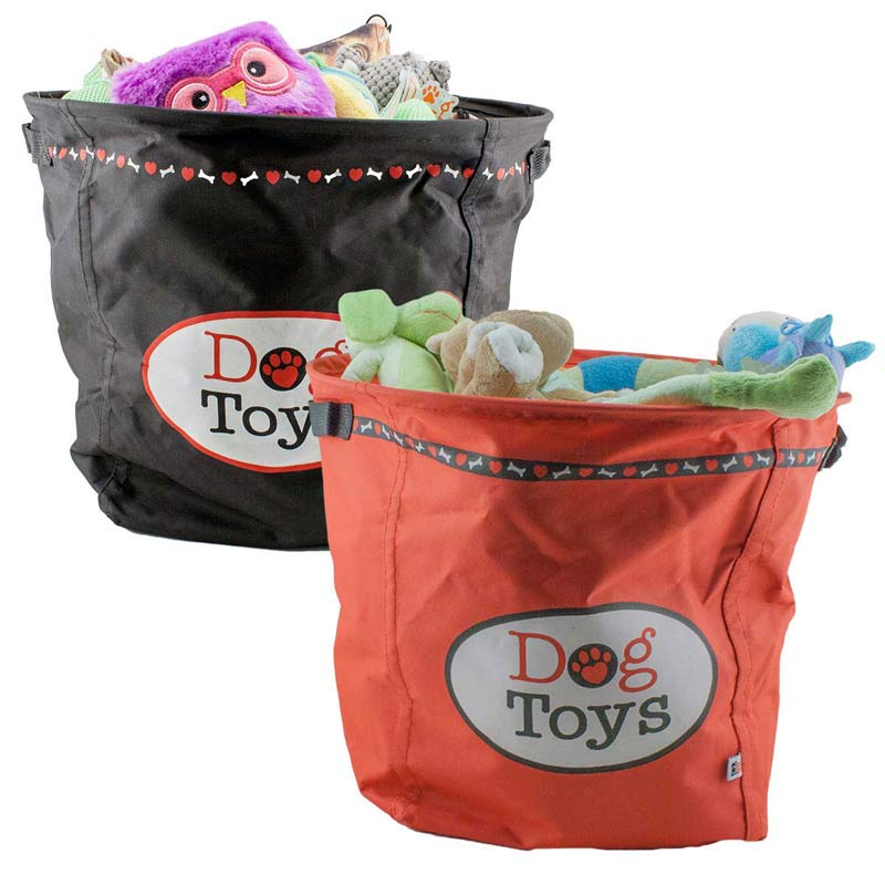Paw Brothers Dog Toy Basket - Red or Black