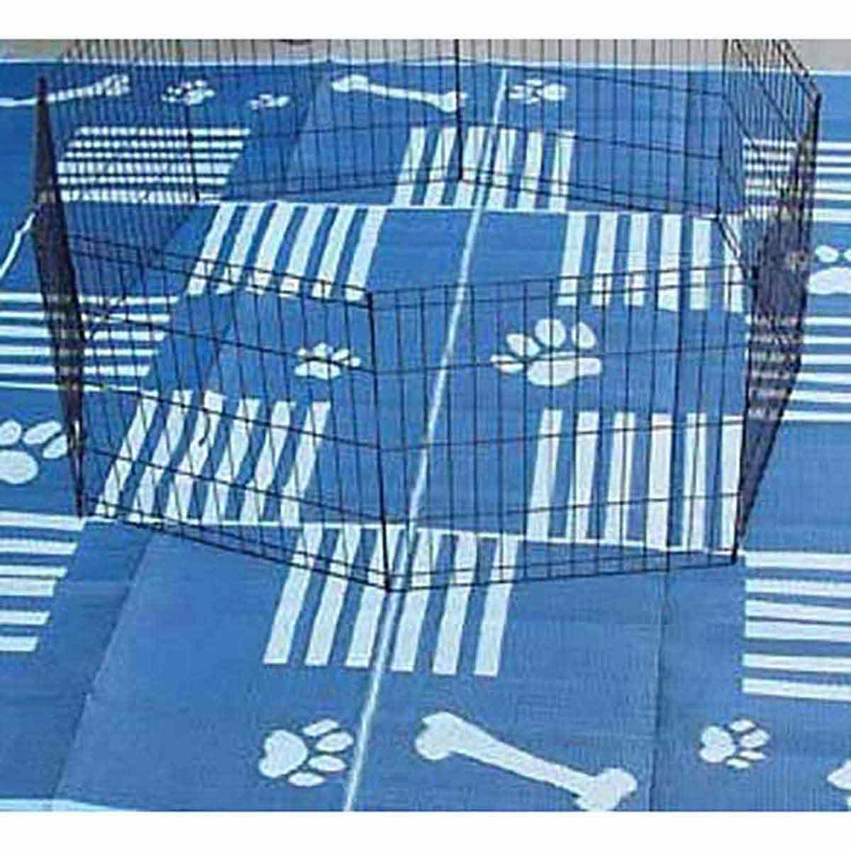 9 foot by 9 foot Plastic Kennel Mat Woven Dog Paw & Bone Design Blue