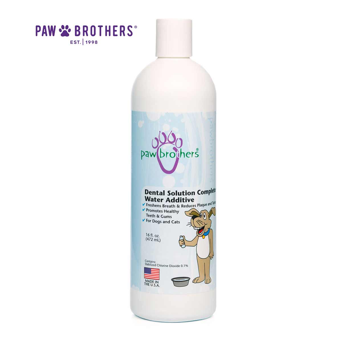 Paw Brothers Dental Solution Complete Water Additive for Dogs 16 oz