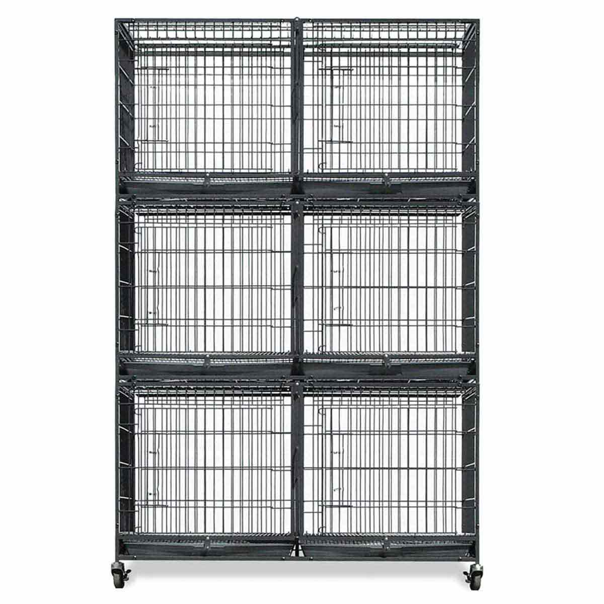 Paw Brothers Small 6 Cage Bank with Free Heavy Duty Cage Wheels