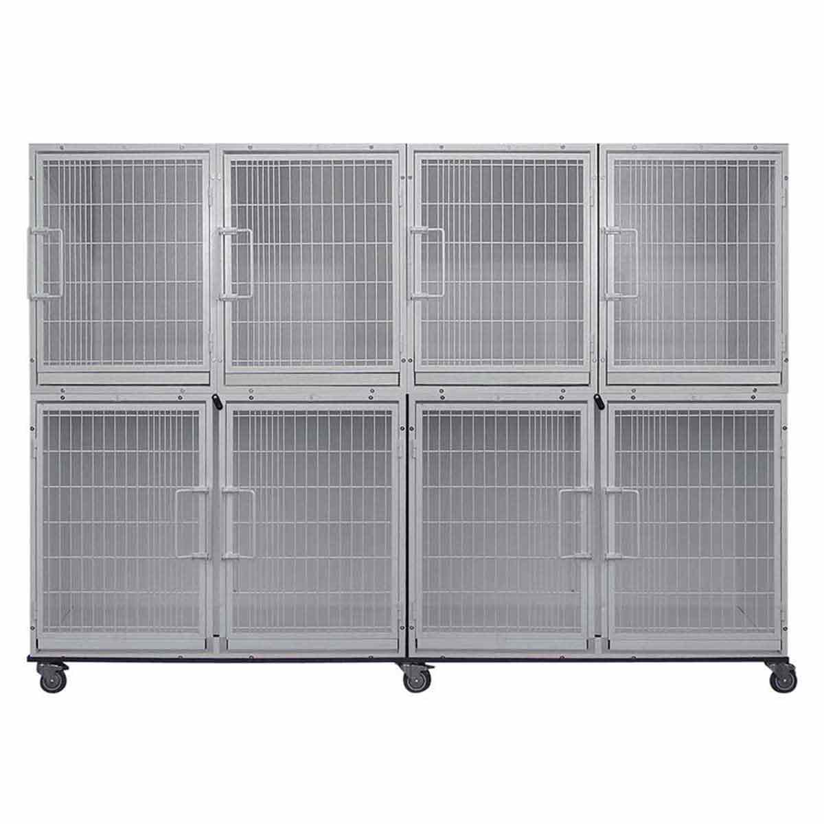 Paw Brothers Professional Short Modular Eight Cage Bank Without Grates, Pans or Dividers
