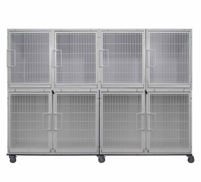 Paw Brothers Professional Short Modular Cage Bank With 8 Cages - Does not Include Grates, Pans Or Dividers