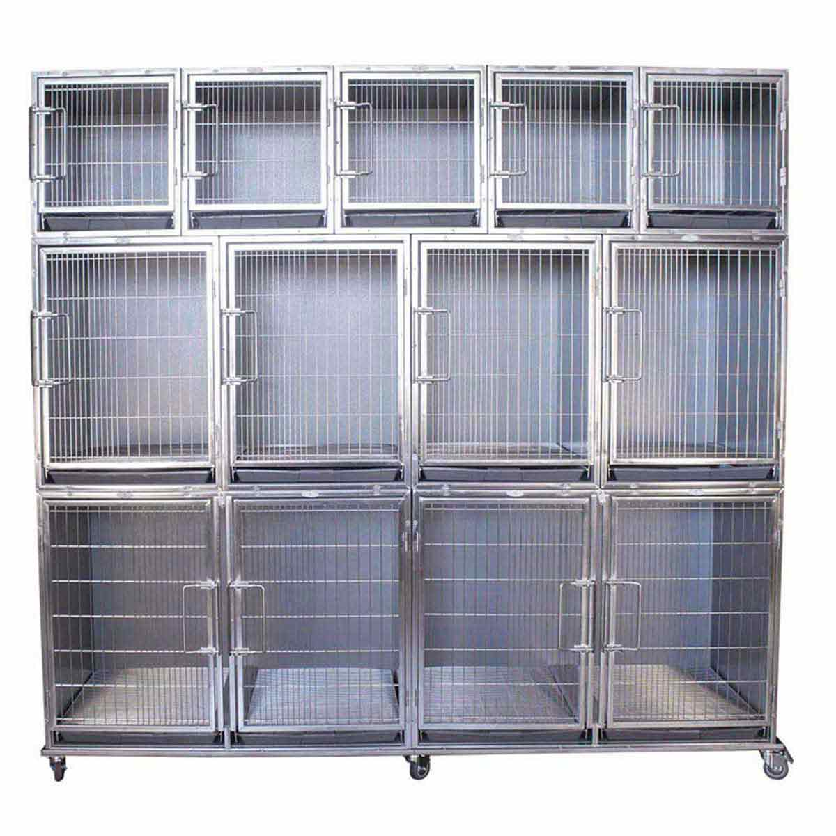 Paw Brothers Professional Stainless Steel Modular Cage Bank Complete with Grates and Pans