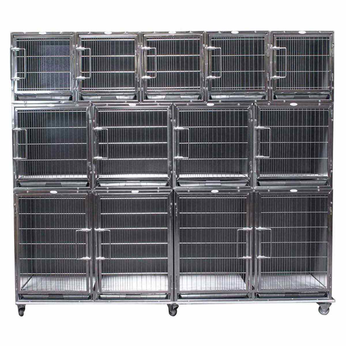 Paw Brothers Professional Complete Full Modular Ss Hybrid Cage Bank With Medium Short Cages