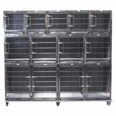 Paw Brothers Stainless Steel Modular Cage Med-Short Full Bank Complete