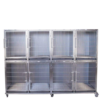 Paw Brothers Professional Stainless Steel Hybrid Short Modular Cage Bank Complete with Pans and Grates