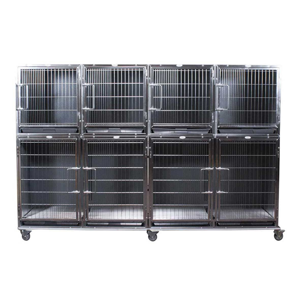 Paw Brothers Professional Stainless Steel Hybrid Short Modular Cage Bank Complete Med-Short
