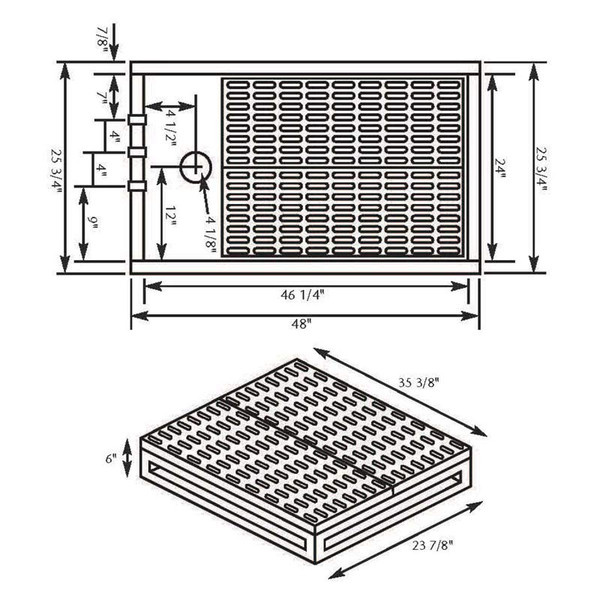 Dimensions for Paw Brothers Professional Powder Coated Hybrid Dog Grooming Tub Grates