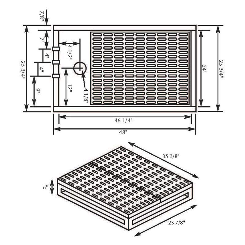 Dimensions for Paw Brothers Professional Stainless Steel Tub Floor and Rack
