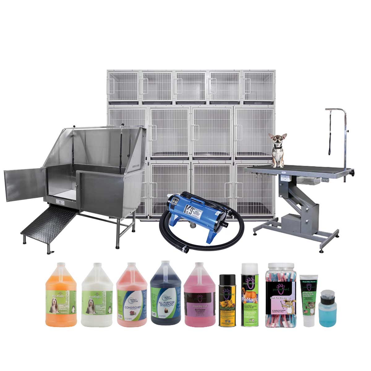 Complete Grooming Kit includes Dryer, Grooming Table, Modular Cages, and all the Grooming Shampoos and Supplies you will need!