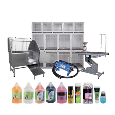 The ultimate Grooming Starter Kit includes Modular Cages, Grooming Tub, Grooming Table, and a Dryer! Plus so much more
