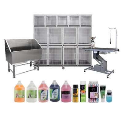 Paw Brothers Professional Complete Grooming Package - Includes Cage, Grooming Tub, Grooming Table and Supplies