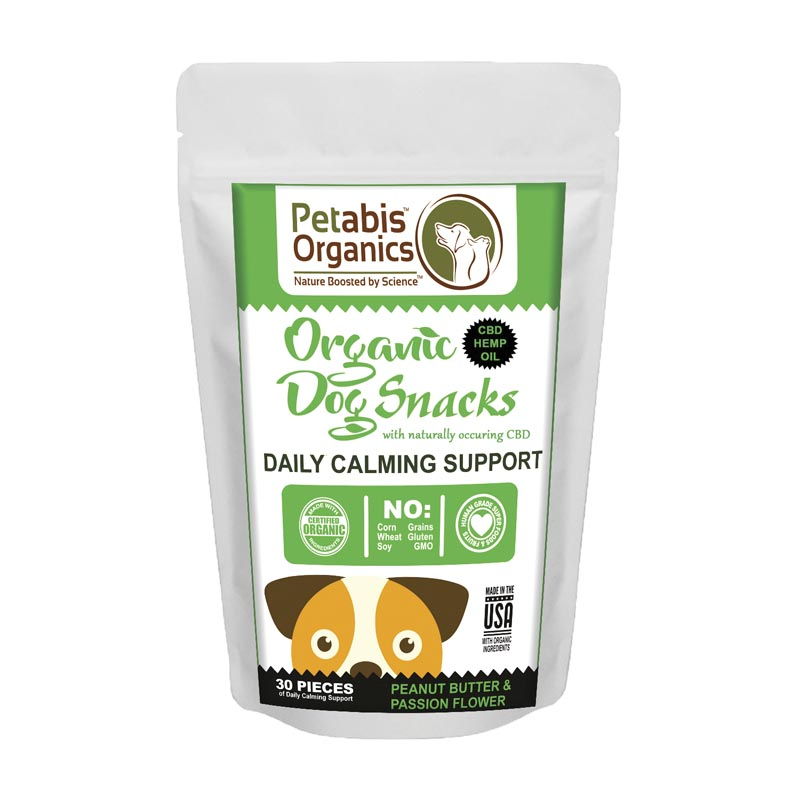 1.5 mg 30 Count Petabis Organics Daily Calming Support Standard Dog Treats with CBD