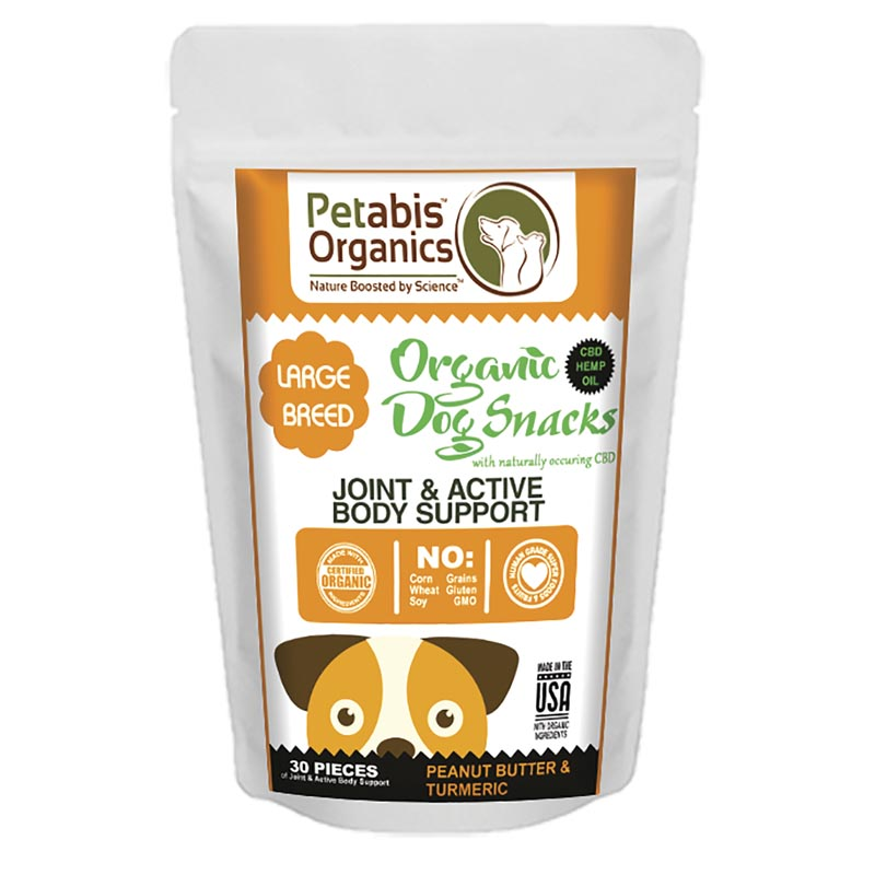 Petabis Organics Joint and Active Body Support Large Breed 5 mg 30 Count CBD Dog Treats