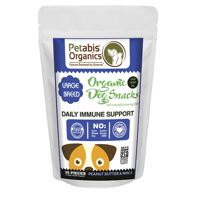 5 mg 30 Count Petabis Organics Daily Immune Support Large Breed CBD Dog Treats