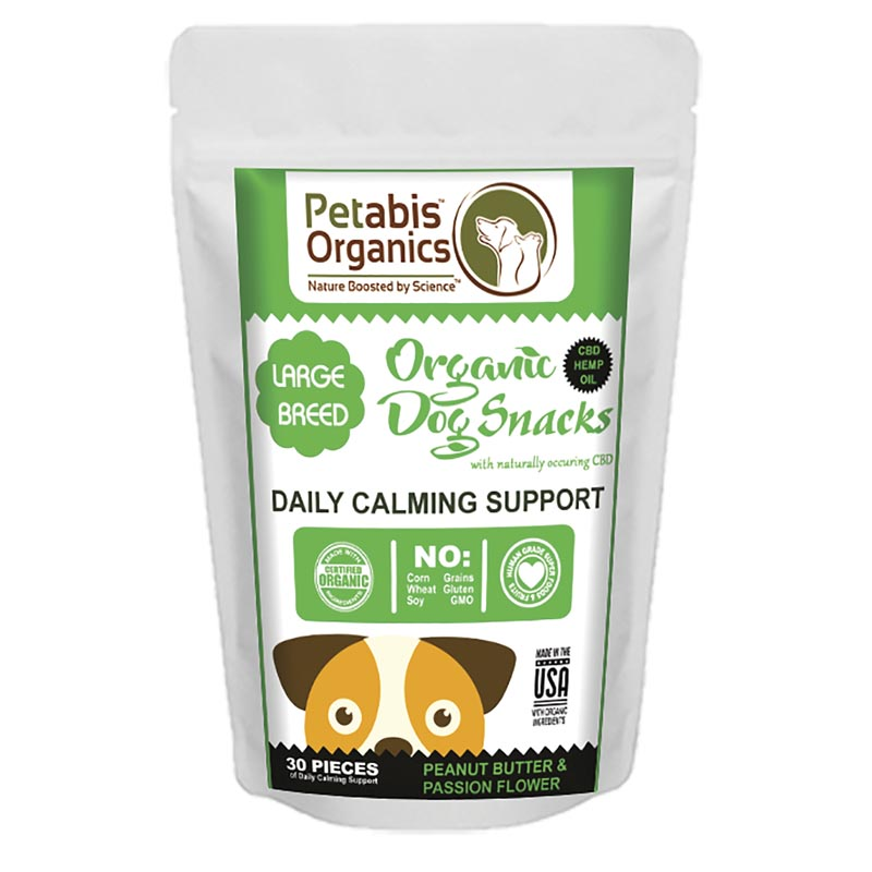 5 mg 30 Count Petabis Organics Daily Calming Support Large Breed CBD Dog Treats