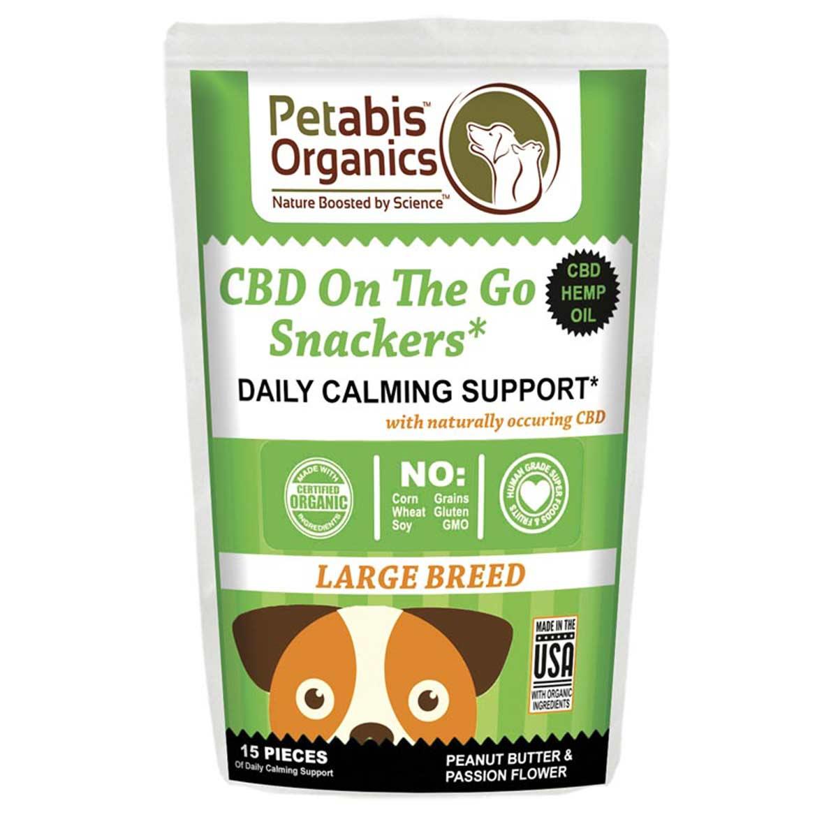 Petabis Organics Daily Calming Snacker Large Breed 5 mg 15 Count CBD Dog Treats
