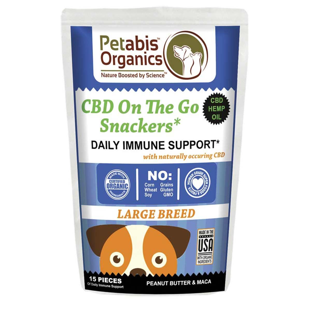 CBD Dog Treats Petabis Organics Daily Immune Snackers Large Breed 5 mg 15 Count