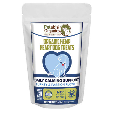30 Count Petabis Organics Hemp Heart Daily Calming Support CBD Dog Treats