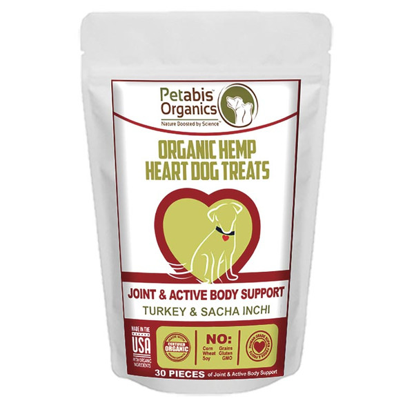 Petabis Organics Hemp Heart Whole Body and Immune Support 30 Count CBD Dog Treats