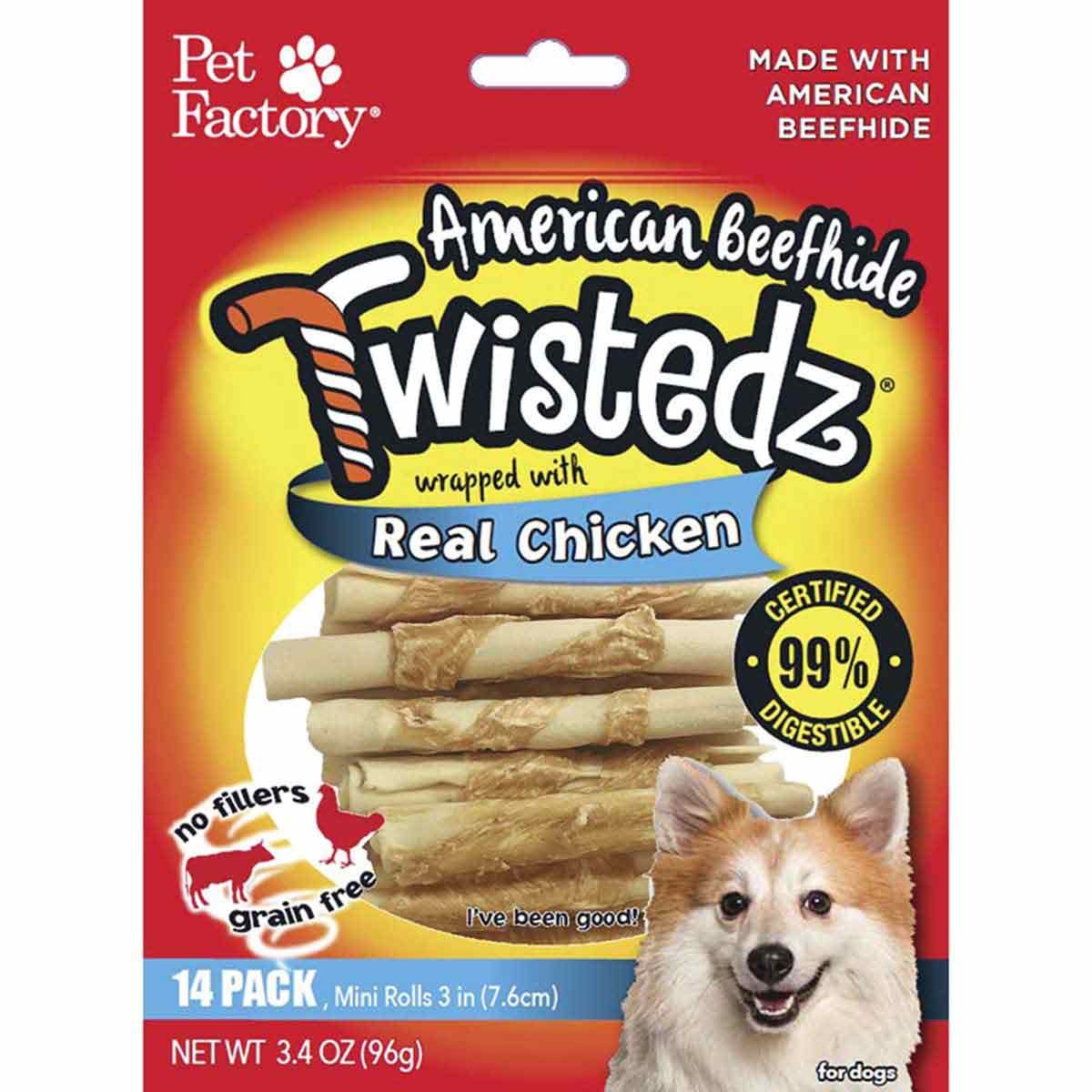 14 Pack Pet Factory Twistedz Chicken 3-3.5 inch Rolls