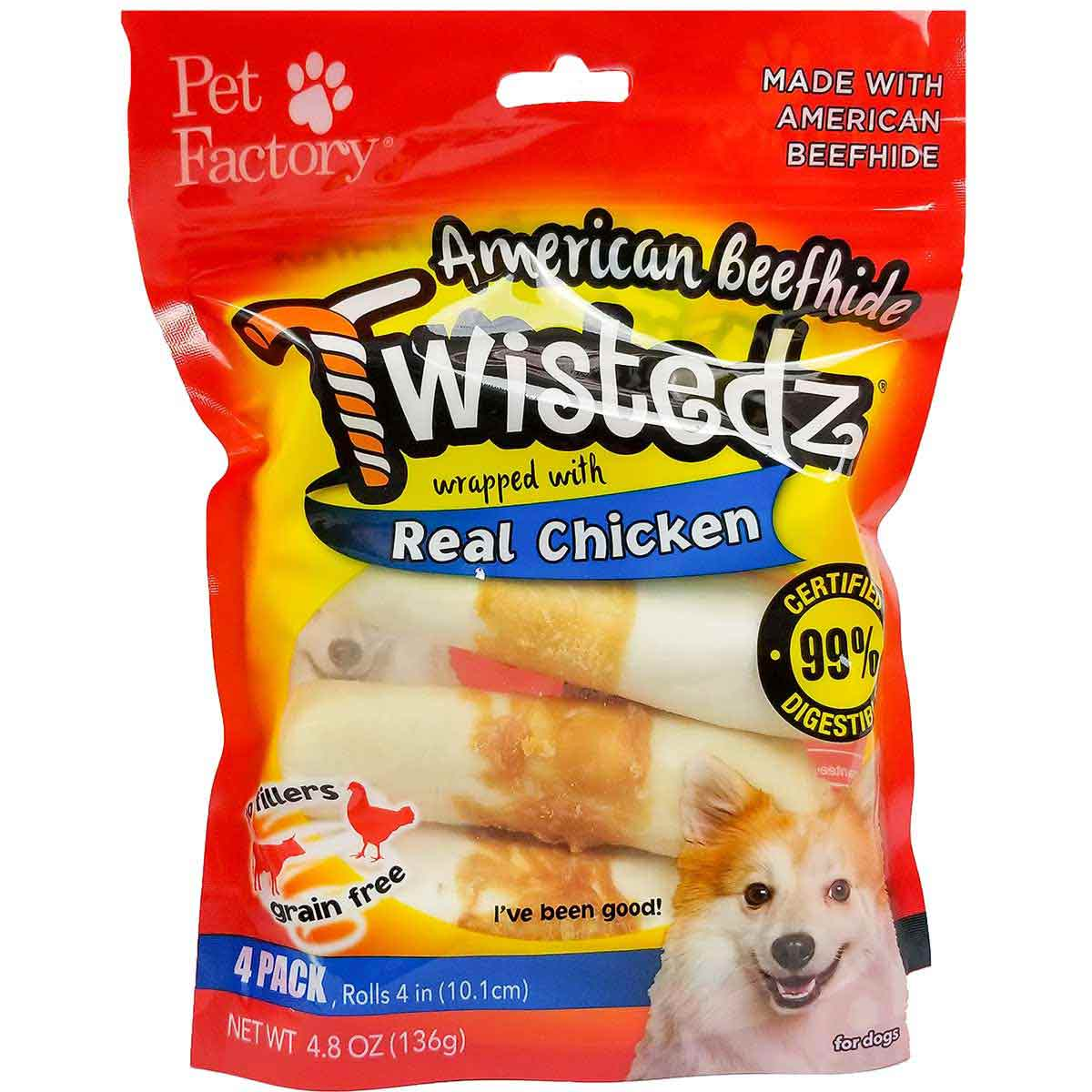 Pet Factory Twistedz Chicken 4-4.5 inch Rawhide Rolls Dog Treats 4 Pack