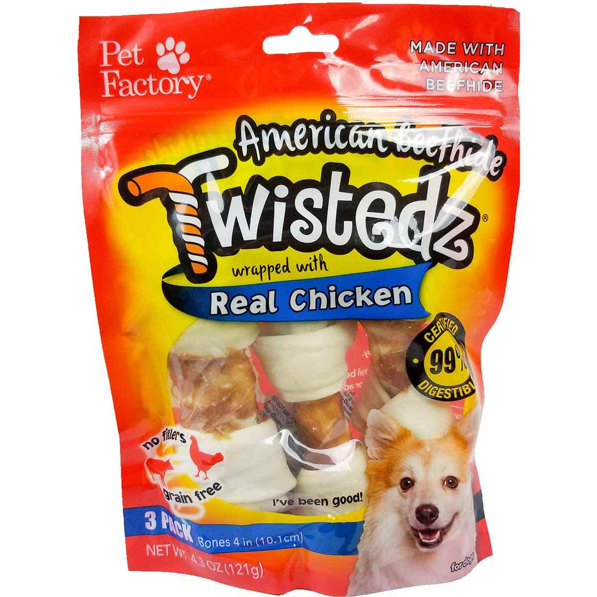Pet Factory Twistedz Chicken Wrapped 4-5 inch Bones 3 Pack