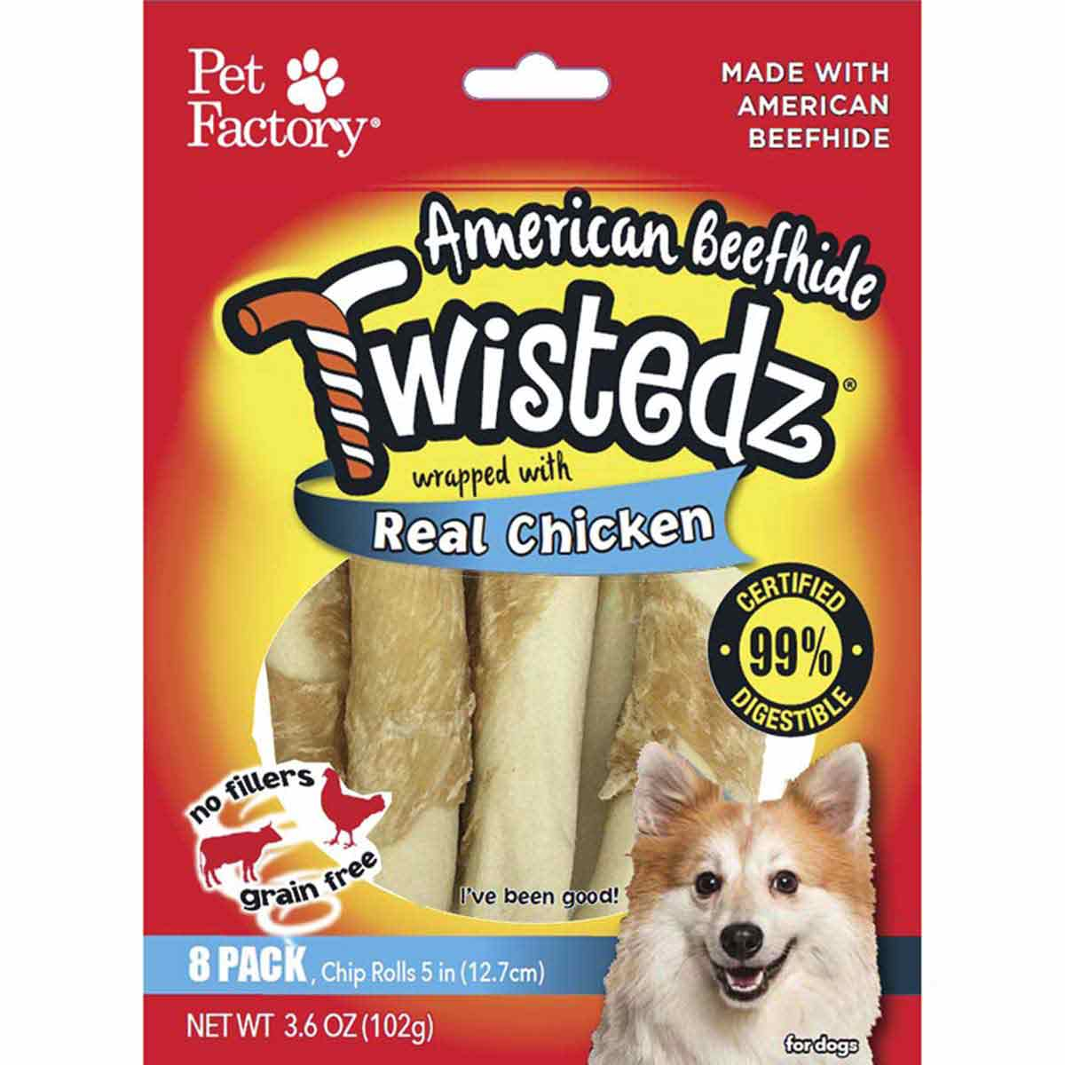 Pet Factory Twistedz Chicken 5 inch Rolls 8 Pack