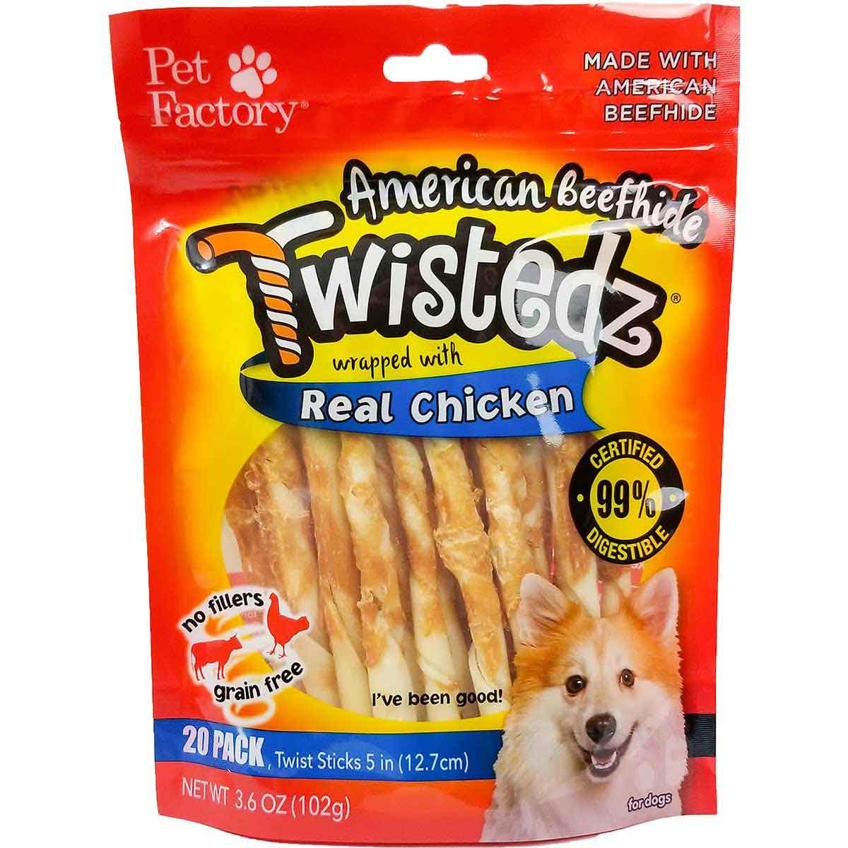 20 Pack Pet Factory Twistedz Chicken 5 inch Sticks Dog Treats