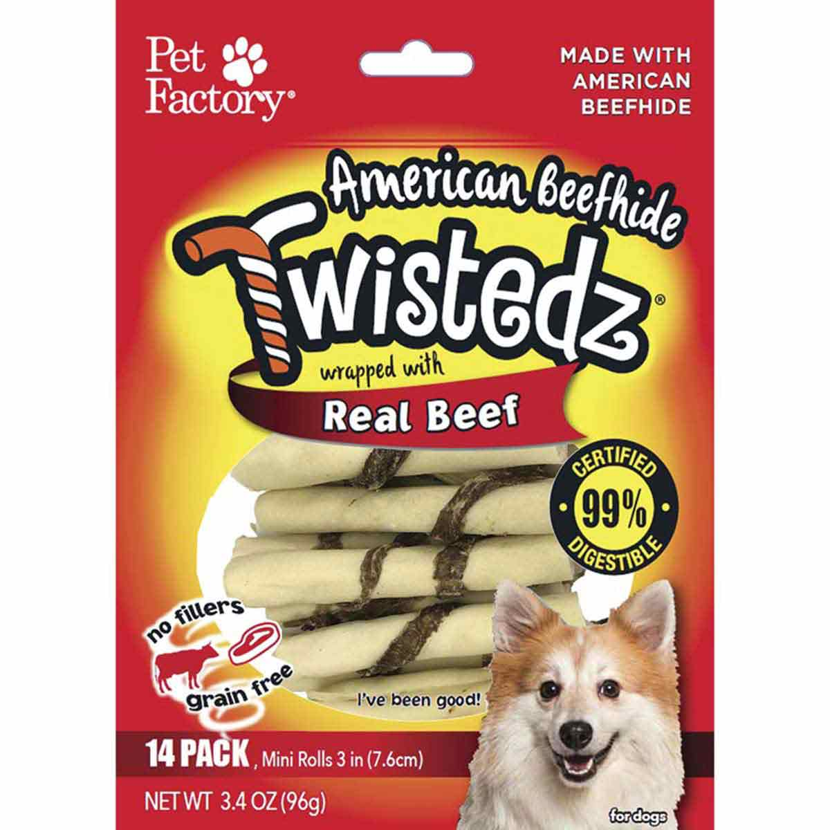 14 Pack Pet Factory Twistedz Beef 3-3.5 inch Rawhide Rolls Dog Treats