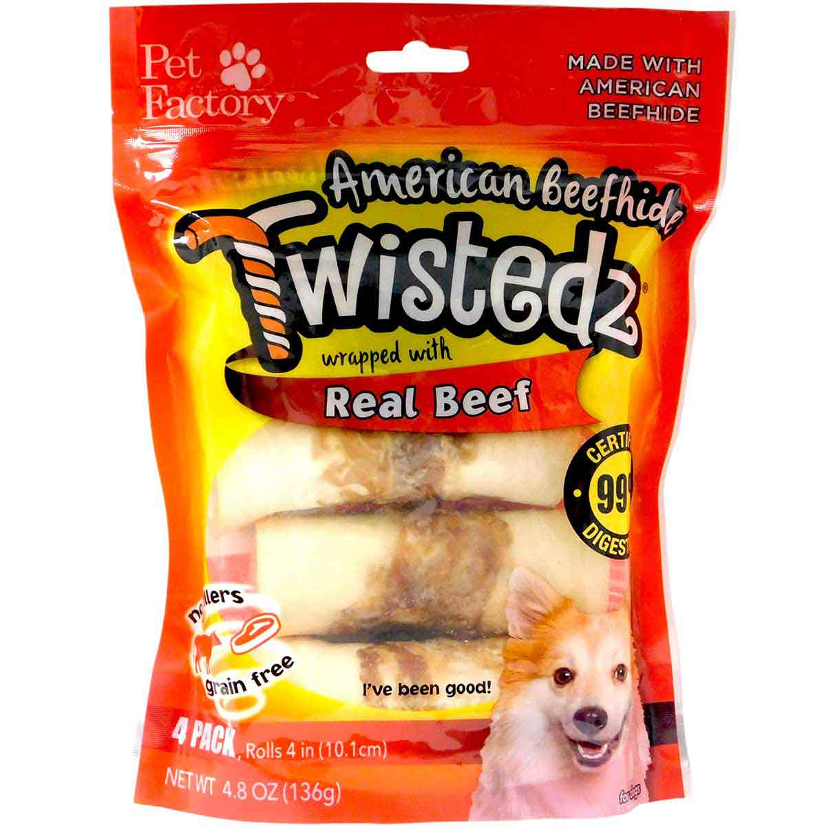 4 Pack Pet Factory Twistedz Beef 4-4.5 inch Rawhide Rolls