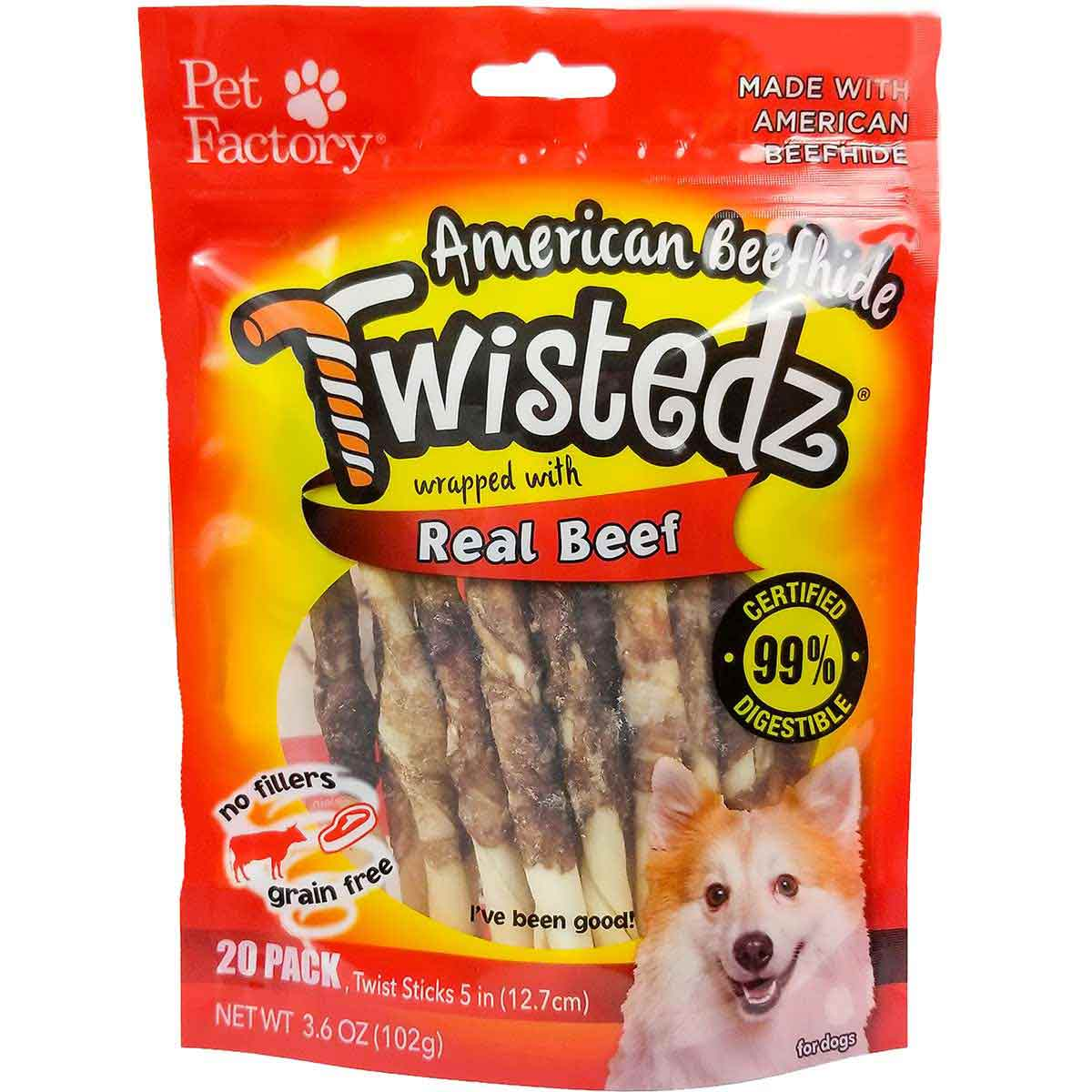 20 Pack Pet Factory Twistedz Beef 5 inch Sticks Dog Treats