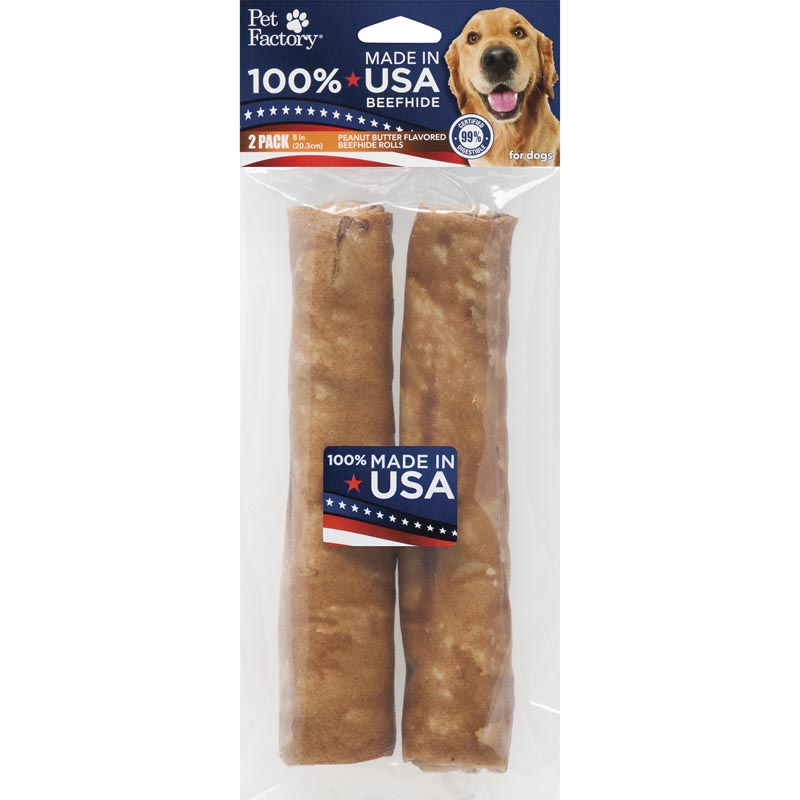 Pet Factory 8 inch Peanut Butter Rawhide Rolls 2 Pack