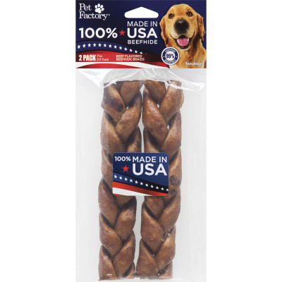 Pet Factory 7 inch Braided Beef Rawhide 2 Pack Dog Chew