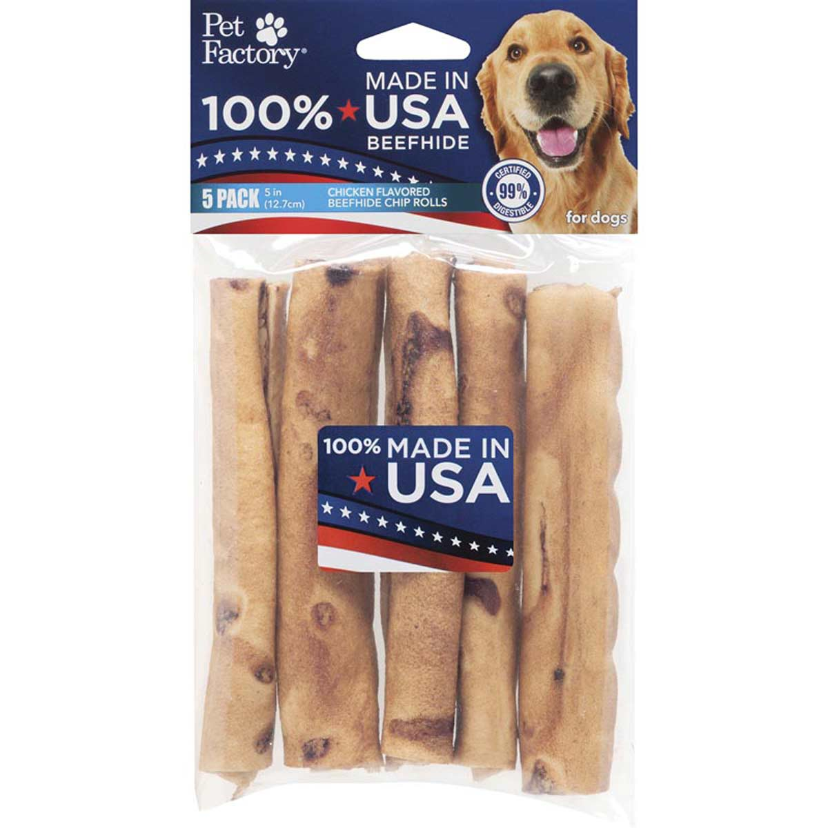 5 Pack of Pet Factory 5 inch Chicken Rawhide Rolls for Dogs