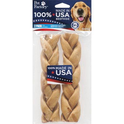 Pet Factory 7 inch Braided Chicken USA Rawhide for Dogs 2 Pack