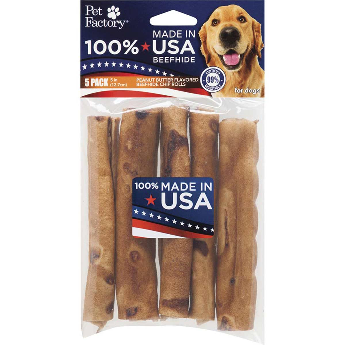 Pet Factory 5 inch Peanut Butter Rolls 5 Pack