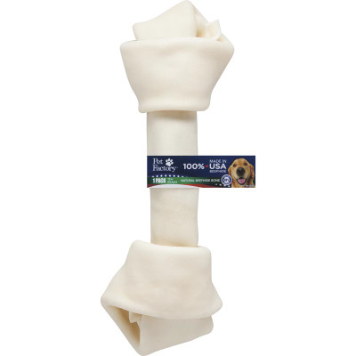 10-11 inch Pet Factory USA Knotted Bone Rawhide Chew for Dogs