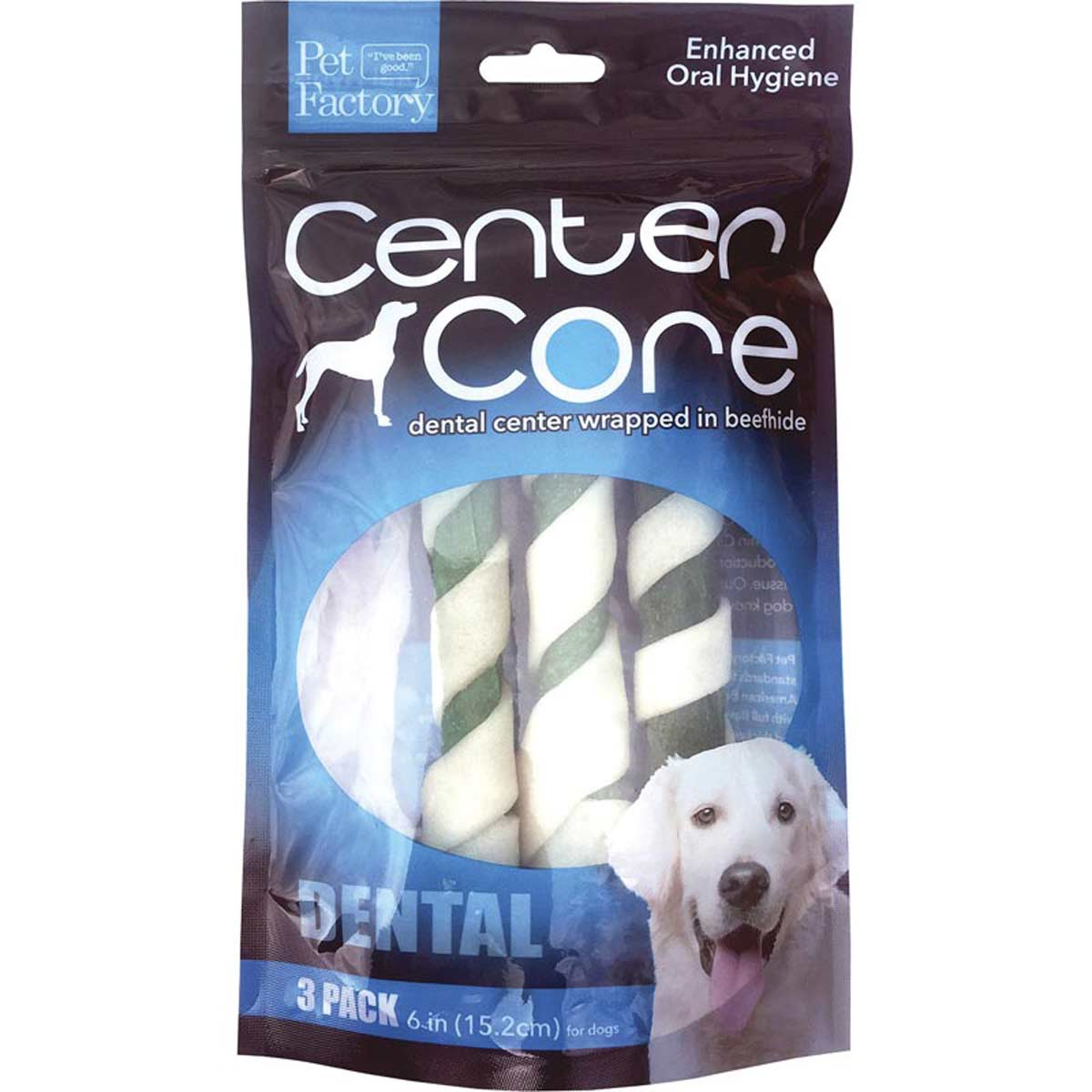 Pet Factory Center Core Dental 6 inch Rolls 3 Pack