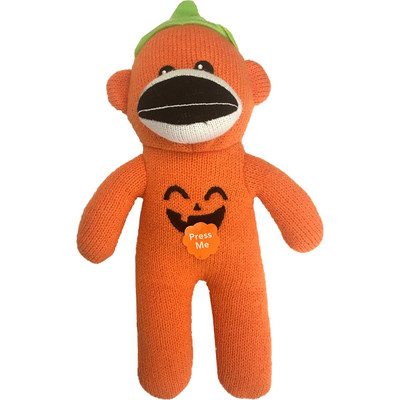 Pet Factory Pumpkin Sock Monkey Dog Toy