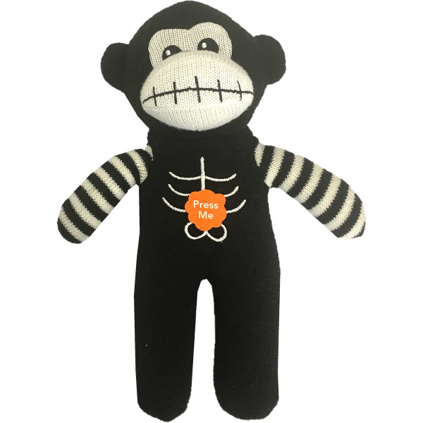 Pet Factory Skeleton Sock Monkey Dog Toy