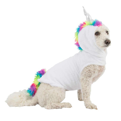 Mini Poodle wearing Small Pet Factory Unicorn Costume