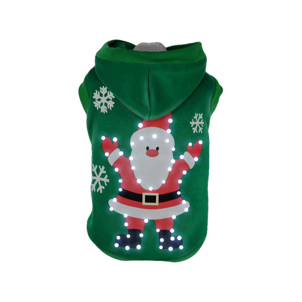 Pet Life LED Green Hands-Up-Santa Hoodie for Dogs