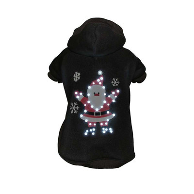Pet Life LED Black Juggling Santa Hoodie for Dogs