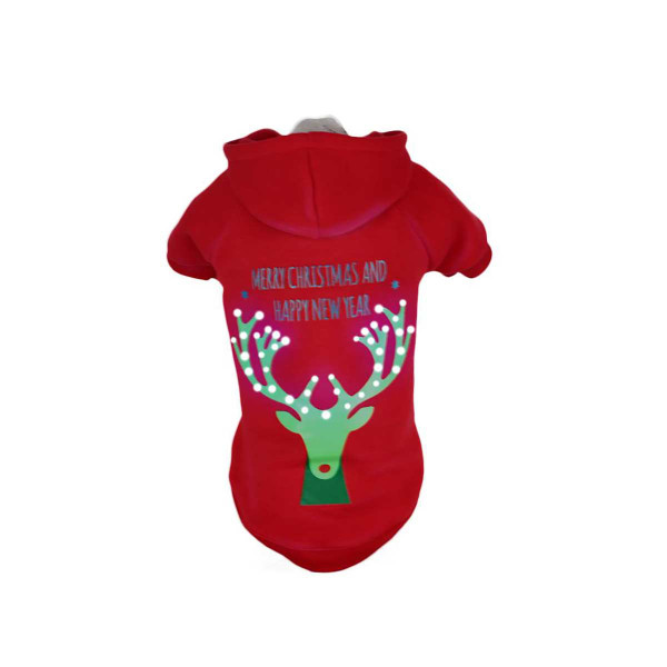 Pet Life LED Red Christmas Reindeer Hoodie for Dogs