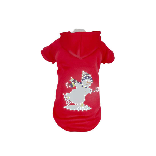 Pet Life LED Red Holiday Snowman Hoodie for Dogs