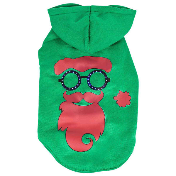 Pet Life LED Green Cool Santa Shades Hoodie for Dogs