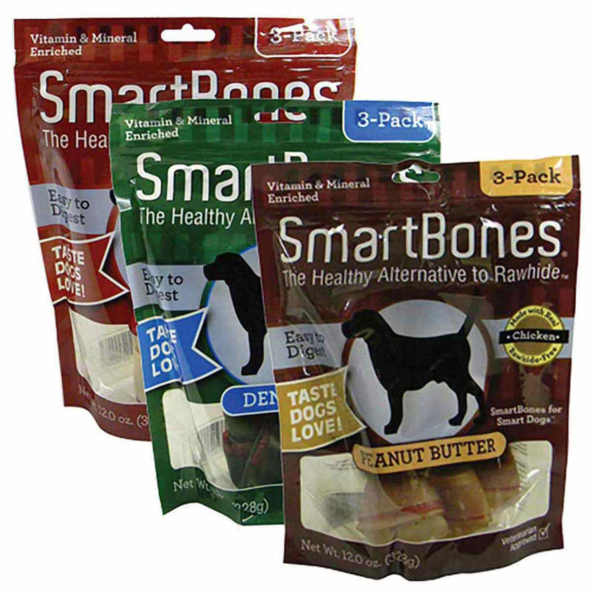 SmartBones Large Treats for Dogs 3 Pack - Choose from Chicken, Dental or Peanut Butter