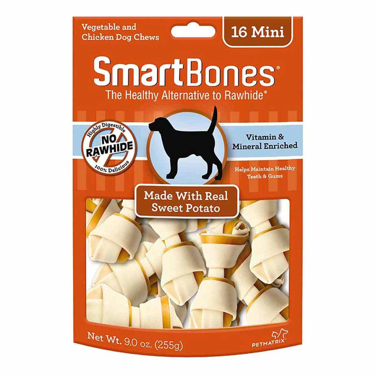 Mini SmartBones Sweet Potato 16 Pack Rawhide Alternative Dog Chews at Ryan's Pet Supplies